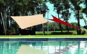 Rectangular and Triangular Shade sails on lawn