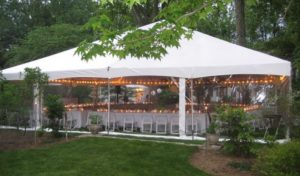large backyard rented tent for several dining tables