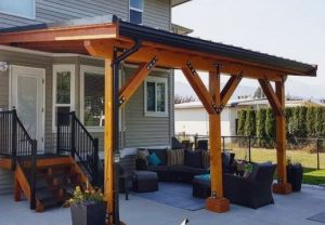 cantilevered roof over patio