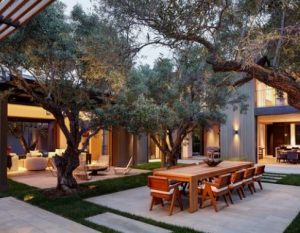 outdoor dining area with shade trees