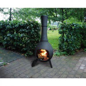 a cast iron chiminea on a patio