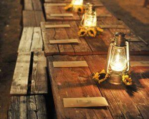 lanterns as casual table centerpieces