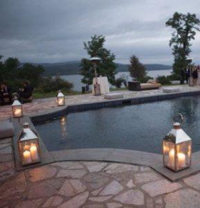 lanterns by a pool