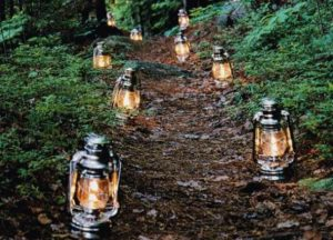 Lighting up an outdoor pathway with lanterns