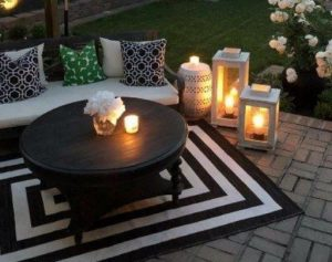 lanterns by seating area to set the relaxing mood