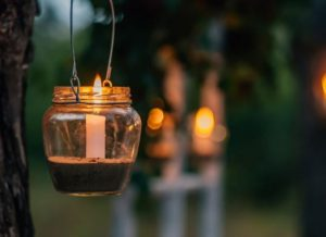 jar lantern with citronella candle