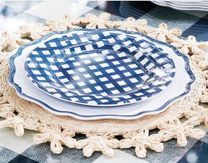 checkered melamine dinner plates