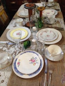 mix and match plates outdoors