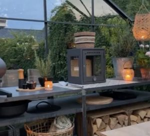 candle lanterns on outdoor kitchen counter