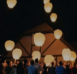 backyard with sky lantern activity