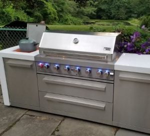 stainless grill island with accessories drawers