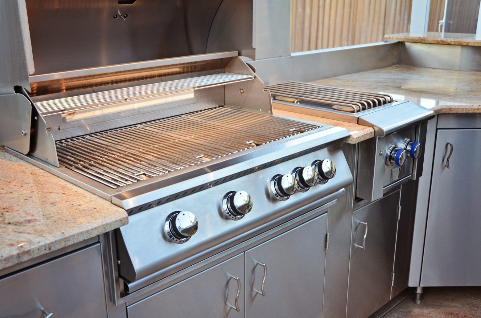 outdoor kitchen cabinets with brushed stainless steel finish