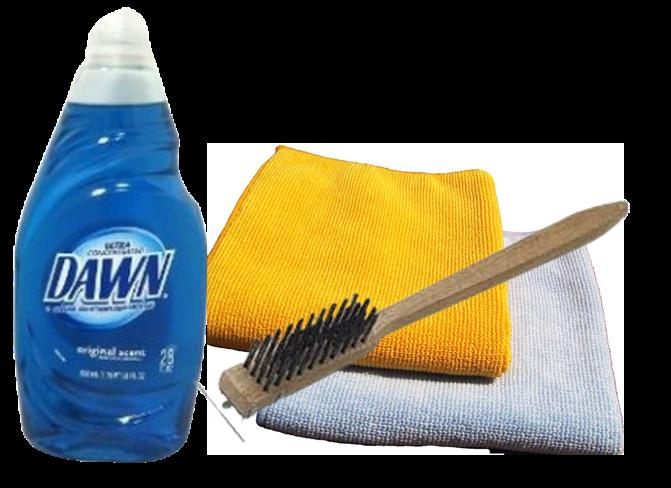bbq cleaning supplies dishwashing liquid grill brush soft cloths