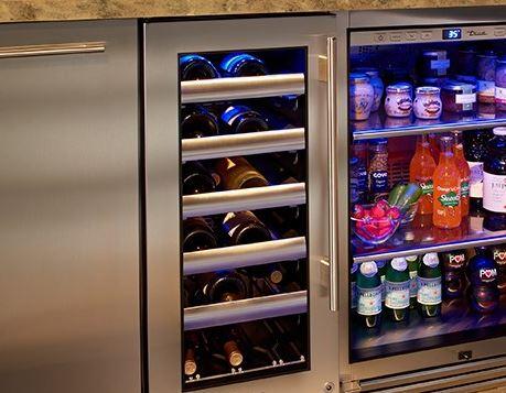 glass door outdoor wine cooler in stainless steel